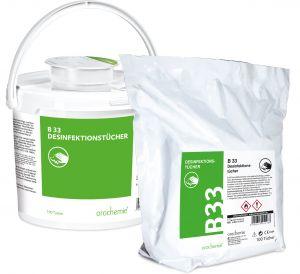 B 33 Desinfektionstücher - Schnell & hochwirksam - Gebrauchsfertig